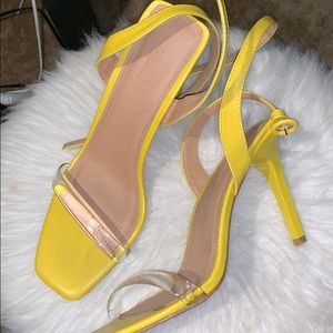 Nasty Gal Yellow Clear Strap Stiletto Heels